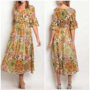 Dresses & Skirts - HP🎊09/06🎊JULIE Orange green floral midi dress